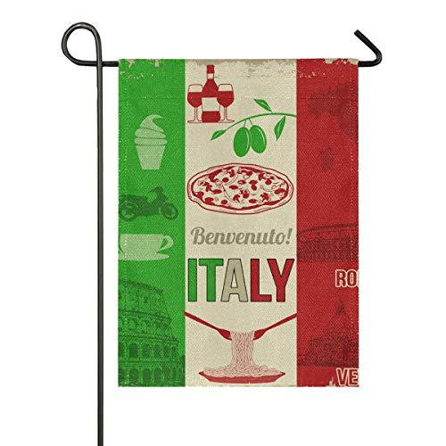 Janhe Insegna della Costruzione dell'alimento degli Elementi dell'Italia dell'interno della Bandiera del Giardino all'aperto di Fronte-Retro a 28 x 40 Pollici Presente