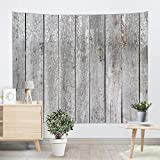 Sevendec Vintage Grey Planks Tapestry Wall Hanging Vertical Striped Wooden Board Wall Tapestry for Livingroom Bedroom Dorm Home Decor W90 x L71