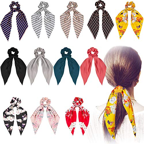 Silk Satin Hair Scrunchies Scarf 12 Pcs Ribbon Bow Scrunchies Soft Scarf Hair Ties Bowknot Ponytail Holder for Women Girls Including 4 Solid Colors amp 4 Stripe Styles amp 4 Flower Pattern 12 Pack