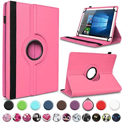 UC-Express Tablet Hülle kompatibel für Wortmann Terra Pad 1006 Tasche Schutzhülle Hülle Schutz Cover 360 Drehbar 10.1 Zoll, Farbe:Pink