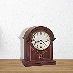 Chiming Key Wound Barrister Mantel Clock, Comes with 's Patented Anti snap-Back System and Jeweled ''Swiss Escapement'', Overall: 11.75'' H x 9.5'' W x 5.25'' D