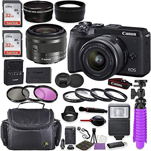 Canon EOS M6 Mark II Mirrorless Digital Camera (Black) Kit with Canon EF-M 15-45mm is STM Lens (Graphite) + Shoulder Case + 64GB Memory + HD Filters + Auxiliary Lenses + Deluxe Kit