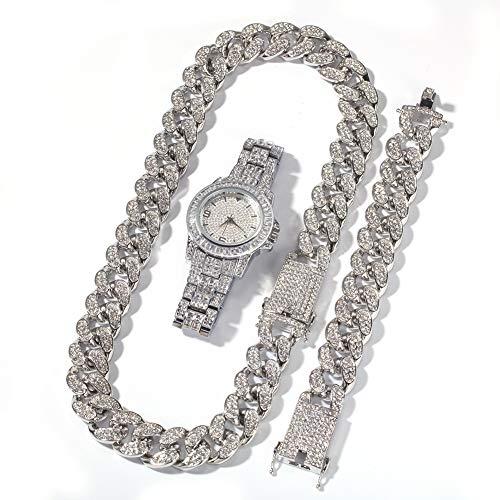 Hip hop - Reloj de pulsera con diamantes de alta gama, chapado en oro, plata, para hombres y mujeres
