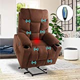 VUYUYU Power Lift Chairs Recliners, Fabric Recliner Chair for Elderly, Heated Vibration Massage Sofa for Living Room, 3 Positions, 2 Pockets and 2 Cup Holders (Fabric-Brown)
