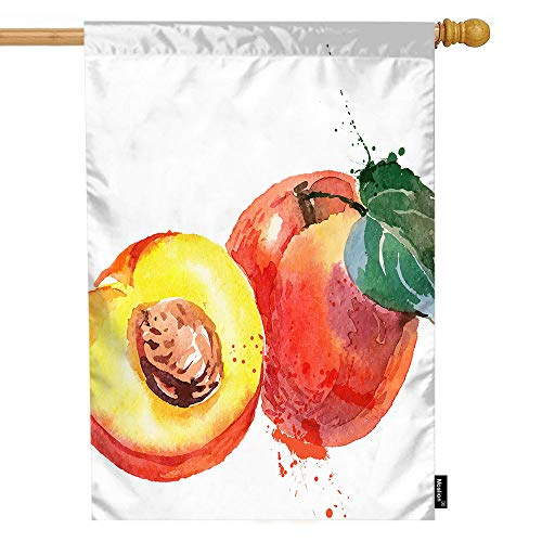 Moslion Peach House Flag Watercolor Painting Juicy Fruit Peach Slice Leaf Love Garden Flags 28x40 Inch Double-Sided Banner Welcome Yard Flag Home Outdoor Decor. Lawn Villa