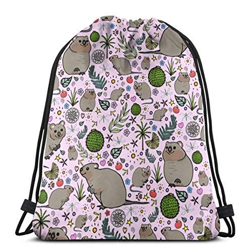 Quokka Kordelzug Rucksack Gym Tanzbeutel für Mädchen Kindertasche Schulter Reisetaschen Geburtstagsgeschenk für Tochter Kinder Frauen Gedruckte Kordelzug Rucksäcke Taschen
