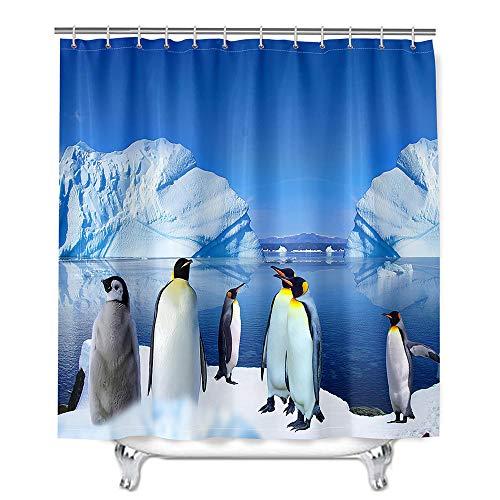 Hiser Duschvorhang aus Polyester Wasserdichter, Waschbare Duschvorhänge mit 12 Duschvorhangringen, 3D Pinguin Druck Badewannevorhang für Badezimmer (EIS,180x200cm)