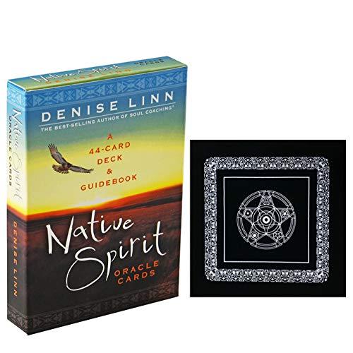 Native Spirit Oracle-Karten mit schwarzem Plüsch Altar Tabellen-Tuch, Pentagram Retro Tarot-Tuch, Practices für den Alltag Taschenbuch Mond Anfänger Verteilt Reveal