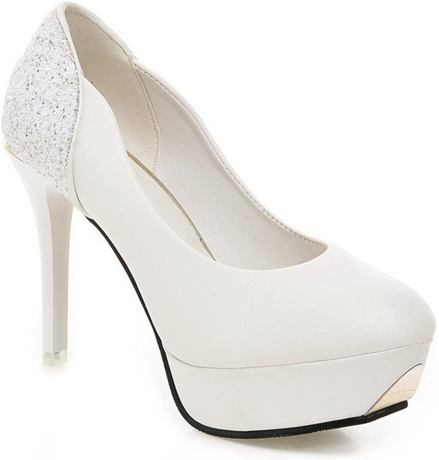 WeenFashion Women's Pu Spikes Stilettos Round Closed Toe Solid Pull On Pumps-shoes