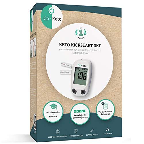 Go-Keto Kickstart Set (mg/dl) | Keto Coaching, Keto Masterclass und Equipment zur Erfolgskontrolle in einem Paket | alles für Deine erfolgreiche Keto Diät | Ketone Check für zu Hause und unterwegs