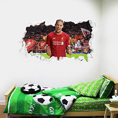 Beau jeu Virgil Van Dijk Sticker mural Motif club de football de Liverpool + LFC, Vinyle, 120 cm