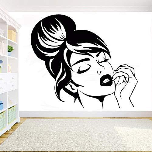 Avatar Mädchen Schönes Mädchen Gesicht Nach Hause Bett Frisur Make-Up Wand Haare Tattoo Wandaufkleber Selbstklebende Tapete Wird Für Die Dekoration Von Schlafzimmern Und Wohnzimmern Verwendet 73X42C