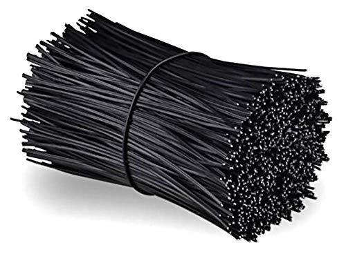 Chingde Gestión de Cable eléctrico, 200 Piezas Lazo de Alambre de Hierro,plástico ataduras Alambre Recubierto de plástico, Lazos de Embalaje, Lazos de Cable, Corbatas De Plástico (Negro)