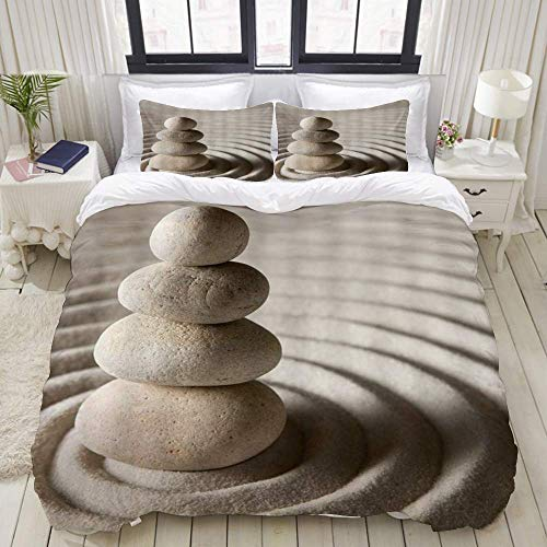 Yaoni Duvet Cover,Pebble Sand Stone,Bedding Set Ultra Comfy Lightweight Microfiber Sets