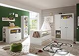 87-530-17 PAULA weiß 3tlg. Babyzimmer Kinderzimmer inkl. Wickelkommode, Bett und und Kleiderschrank
