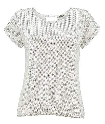 ELFIN Damen T-Shirt Kurzarm Blusen Shirt mit Allover-Minimal Print Lose Stretch Basic Tee, Weiß, XL