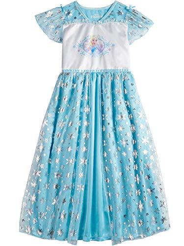 Disney Frozen Elsa Big Girl's Fantasy Gown Nightgown Pajamas (6, Blue/White)