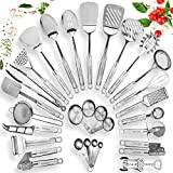 HOME HERO Stainless Steel Kitchen Utensil Set - 29 Cooking Utensils - Nonstick Kitchen Utensils...