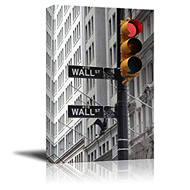 Wall26 - Black and White Photograph with Pop of Color on the Traffic Lights in Wall Street - Canvas Art Home Decor - 32x48 inches