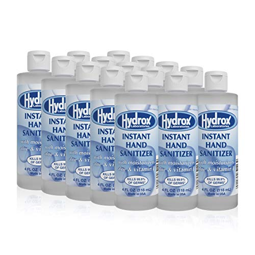 Hydrox Instant Hand Sanitizer 70% Ethyl Alcohol Gel 4oz Flip-Top Eliminates 99.9% of common germs rinse free formula with Vitamin E and Aloe Vera Fragrance Free Pack of 60