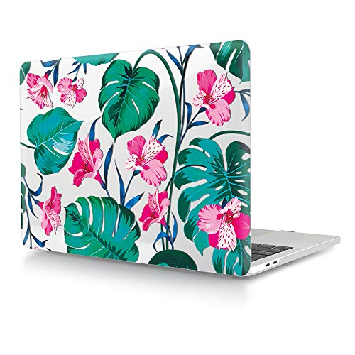 HRH Pink Palm Flower Clear Glossy Design Laptop Body Shell Protective Hard Case for MacBook Newest Air 13\' Inch with Retina Display fit Fingerprint Touch ID (Model A1932,2018 Release)