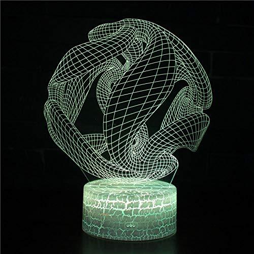 Lámpara de Noche de Ilusión óptica 3D Lámpara de mesa 7 colores de Acrílico Plano & ABS Base & Cargador USBEspiral abstracto 2 Cracked base