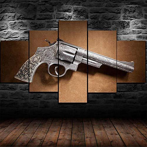 Cuadro Sobre Lienzo 5 Piezas Impresión En Lienzo Ancho: 150Cm, Altura: 100Cm Listo Para Colgar-44 Magnum Revolver Gun Pistole En Un Marco