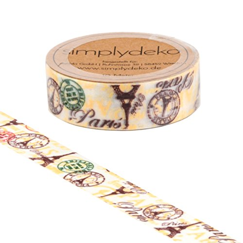 Simplydeko Washi Tape - Masking Tape Vintage und Retro - Wundervolles Washitape Bastel-Klebeband aus Reispapier - Paris