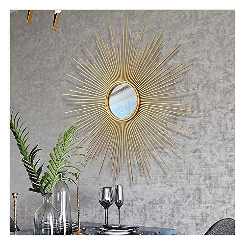 XM-MIRROR Dekorative wandspiegel, Veranda Metall Sonne Form wandspiegel, korridor Wohnzimmer wanddekoration anhänger hängenden Spiegel,Gold,60cm