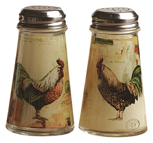Circleware Rooster Salt and Pepper Shakers, 2-Piece Set, 4 oz