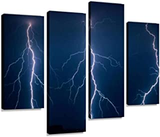Three branched Lightning Bolts Next to Each Other Strike Down Near Canvas Wall Art Hanging Paintings Modern Artwork Abstract Picture Prints Home Decoration Gift Unique Designed Framed 4 Panel