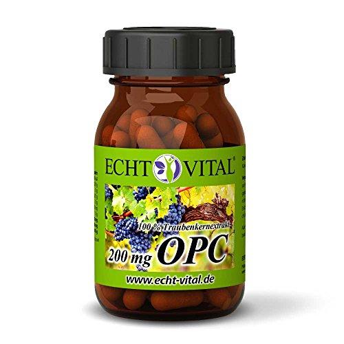 ECHT VITAL OPC Traubenkernextrakt Kapseln | 100% Premium OPC aus französischen Trauben | 200 mg reines OPC je Kapsel (HPLC) | 60 Kapseln OPC im Glas | Vegan, Rein, Hergestellt in Deutschland