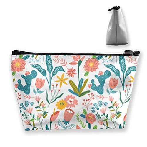 Vintage Flower Zipper Bag Coin Organizer Makeup Costmetic Bag Office Storage