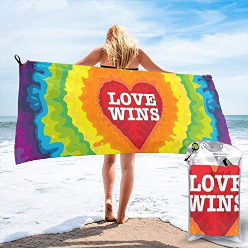 Yuanmeiju Toalla Toalla de baño de Secado rápido Tie Dye Love Wins Polyester Quick Dry Beach Towel Bath Towel
