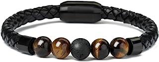 7 Chakra Lava Rock Bracelet Healing Balancing Genuine Leather Bracelets with Magnetic Clasp Tiger Eye Agate Howlite for Men