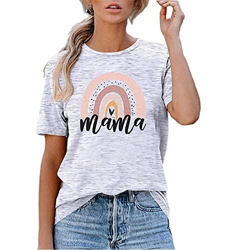 Camiseta Mujer Top Mujer Chic Dulce Elegante Estampado De Arcoíris Cuello Redondo Manga Corta Vacaciones De Verano Moda Informal Camisa Holgada Y Cómoda Mujer Shirt A-White M