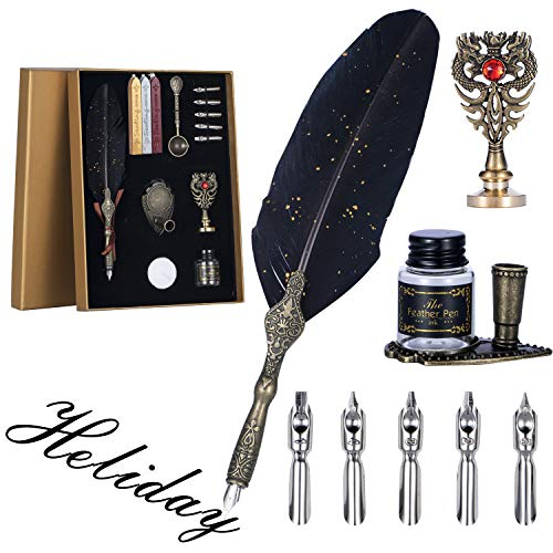 Carving Feather Pen Set,Calligraphy Set Includes Feather Dip Pen,Bottle of Ink,5 Replacement Nibs,3 Wax Seal Sticks,Pen Nib Base,Seal Stamp, White Wax,spoon, Executive Gift(Black)