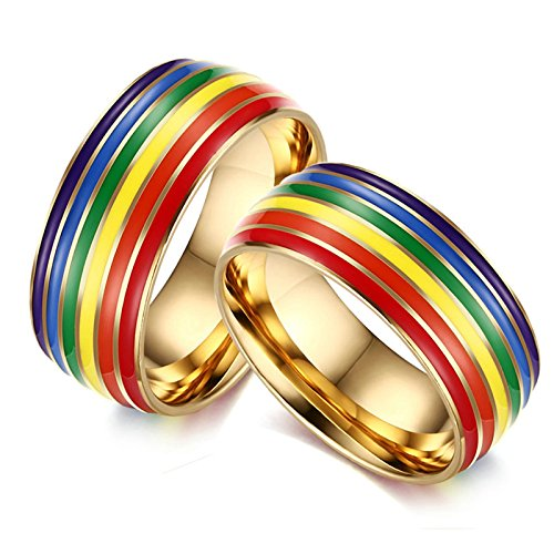 Bishilin Lesbian Rings for Couples Set with 2 Rings Stainless Steel Men's Ring Rainbow High Polished Width 8MM Wedding Band Rings Gold Size 7 & Size 7