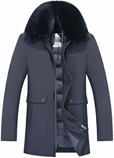 Men's Jacket Mid-Length Thickened Middle-Aged Men's Down Jacket Winter Jacket with Removable Collar,Gray,XXL