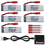 Crazepony 3.7V 500mAh Rechargeable Lipo Battery for UDI U818A-1 U817 U818A U817A WLtoys V959 V222 V929 V949 V969 V979 V212 V989 V999 RC Quadcopter Drone with X4 Charger(Not for UDI U818A WiFi Drone)