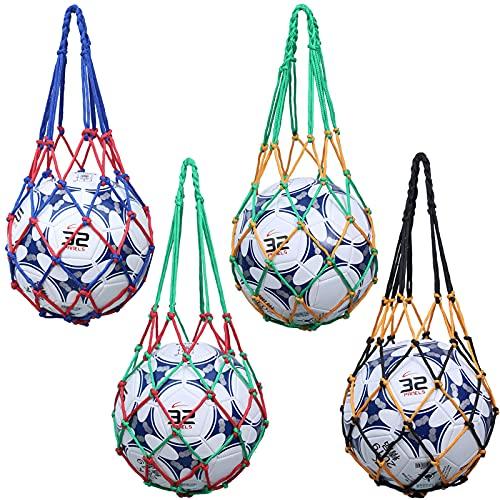 4 Piezas Bolso de Red de Fútbol Bolso de Baloncesto Red de Transporte de Baloncesto Bolso de Malla de Balones Baloncesto Carry Net Bag para Voleibol, Baloncesto, Fútbol, Calzado Deportivo 57cm