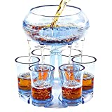 Shot Dispenser With 6 Glasses, Lareina 6 Shot Acrylic Glass Dispenser and Holder for Liquids, Drinks, Beverages and Cocktail for Drinking Games, Parties and Bars,Food Grade Material-Blue