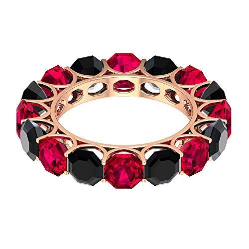 Rosec Jewels 10 quilates oro rosa Octagon Shape Red Black Rubí, relleno de vidrio Espinela negra