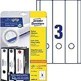 AVERY Zweckform L6059-25 Ordnerrücken Etiketten (mit ultragrip, 59 x 297 mm auf DIN A4, breit/lang, selbstklebend, blickdicht, bedruckbare Ordneretiketten, 90 Rückenschilder auf 30 Blatt) weiß