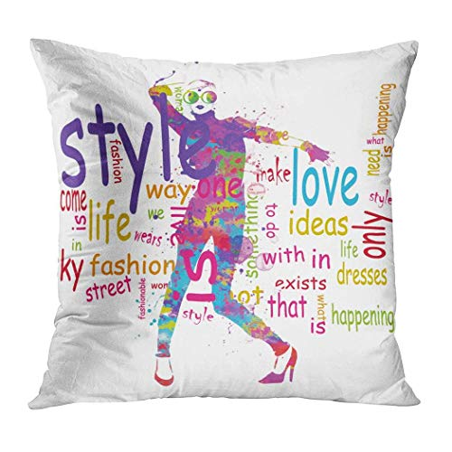 osf Sexy Pillowcase, Fashion Girl in Sketch Style Throw Pillow Cover, Hidden Zipper Elegant Pillowcase for Living Room Sofa Bed Couch Kissenbezüge 22x22Inch(55cmx55cm)