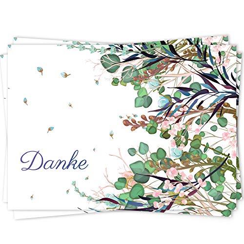 10 Dankeskarten Set, Dankeskarte, Karte Danke, Postkarte Danke, Dankeschön Karten, Thank you cards, Dankeskarten Hochzeit, Danke Karten DIN A6 - Zweige2