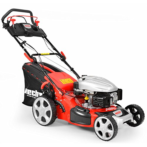 Hecht 5484 SX Benzinegrasmaaier, 3,7 kW (5,0 pk), maaibreedte 46 cm, opvangbak van 60 liter, 7-traps maaihoogteverstelling 25-75 mm, wielaandrijving