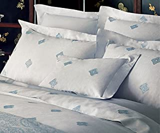 Yves Delorme Silence Queen Flat Sheet Silver Blue Medallions Cotton Damask