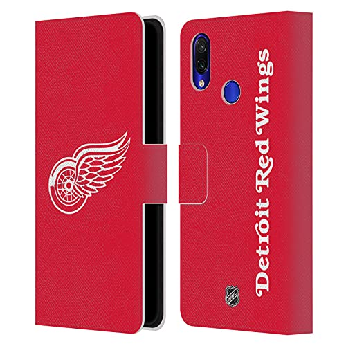 Head Case Designs Licenciado Oficialmente NHL Llanura Alas Rojas de Detroit Carcasa de Cuero Tipo Libro Compatible con Xiaomi Redmi Note 7/7 Pro
