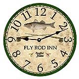 Horloge basse - Canne à mouche - Horloge décorative ronde à grands chiffres - En bois - 30,5 cm - Pour bureau, cuisine, chambre à coucher, salon